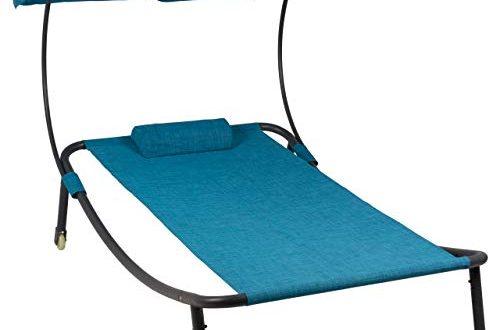 Divero Sonnenliege Sonnenbett Blau 202 x 139 x 152 cm 500x330 - Divero Sonnenliege Sonnenbett Blau 202 x 139 x 152 cm mit Sonnendach und Kopfkissen für eine Person Gartenliege mit Räder Stahlrahmen Mamry