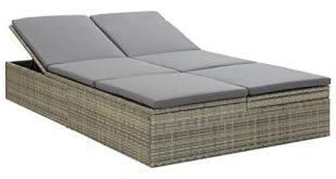 vidaXL Sonnenliege mit Auflage Gartenliege Sofa Relaxliege Gartenmöbel Rattanmöbel Gartensofa Lounge Liege Sonnenbett Poly Rattan Grau
